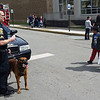 New Castle police K9 officer Steven Brooks and his partner, Gus, greet visitors to the Y Healthy Kids Day.