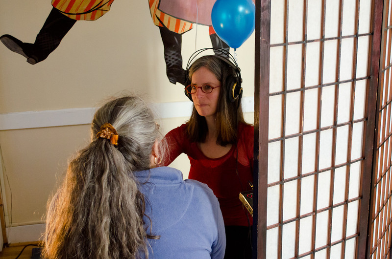Judy Silber doing a Hear Here interview. KALW Mission Arts and Performance Project (MAPP) June 2012, The Polish Club, 3040-22nd St. at Shotwell St., Mission district, San Francisco, California.