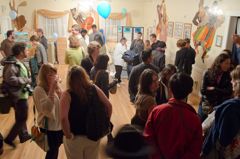 Lobby after event. KALW Mission Arts and Performance Project (MAPP) June 2012, The Polish Club, 3040-22nd St. at Shotwell St., Mission district, San Francisco, California.