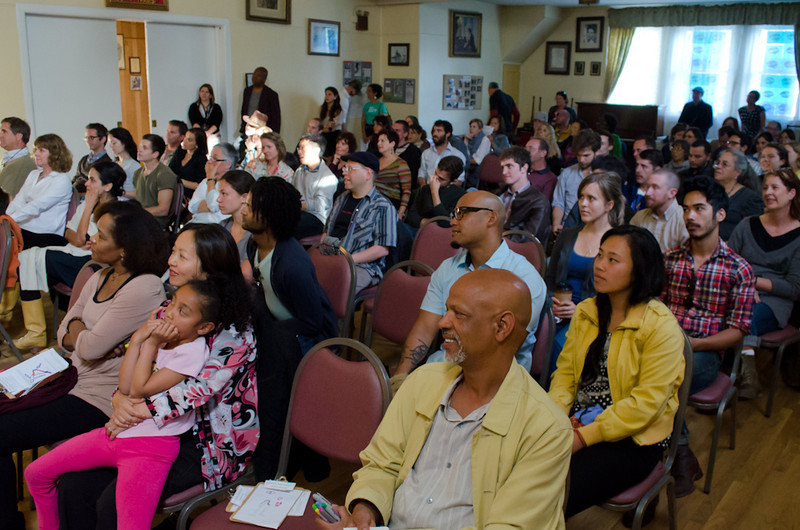 Audience for Marilyn Pittman. KALW Mission Arts and Performance Project (MAPP) June 2012, The Polish Club, 3040-22nd St. at Shotwell St., Mission district, San Francisco, California.