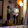Natalie Nadimi and Lukas Brekke-Miesner on stage. KALW Mission Arts and Performance Project (MAPP) June 2012, The Polish Club, 3040-22nd St. at Shotwell St., Mission district, San Francisco, California.