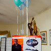 Hear Here balloon card in lobby. KALW Mission Arts and Performance Project (MAPP) June 2012, The Polish Club, 3040-22nd St. at Shotwell St., Mission district, San Francisco, California.