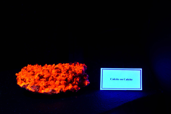Calcite on Calcite under blacklight
