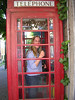 Terry in the phone booth after tea.