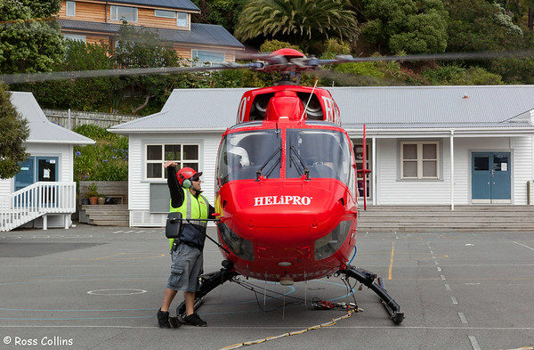 Helicopter at St Anthony's School, Seatoun, Wellington, 20 December 2011
