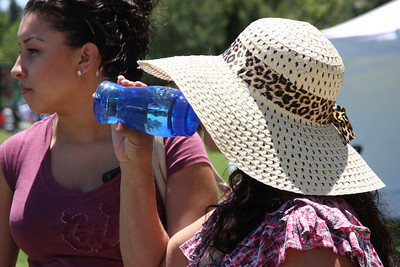 Lots of free water bottles being given out--and used.