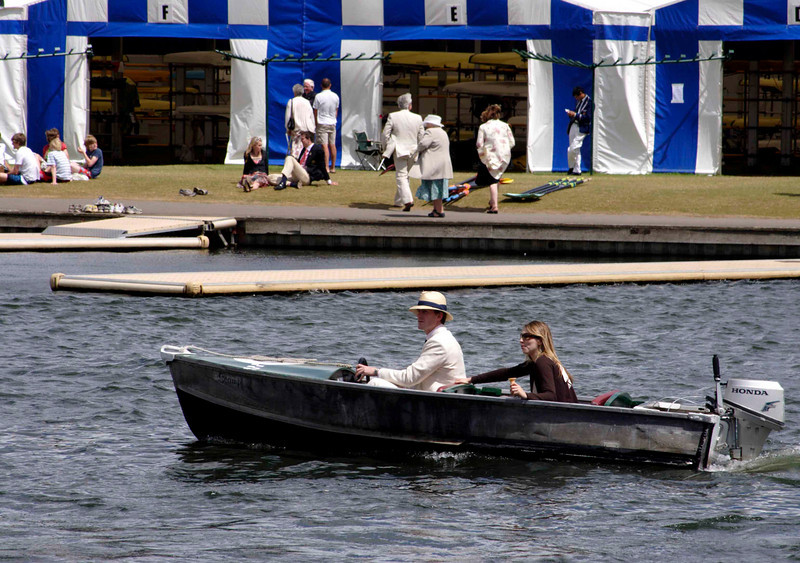 Spectators in motorboat at Henley Regatta July 2008