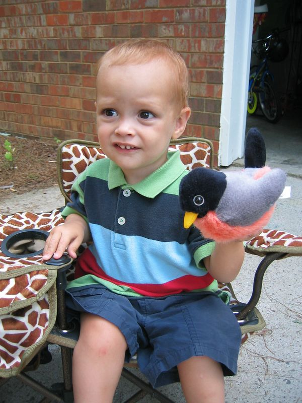 One of Henry's favorite presents was this robin that Caroline picked out for him.  It even sounds like a real robin.  He absolutely loves birds!!!