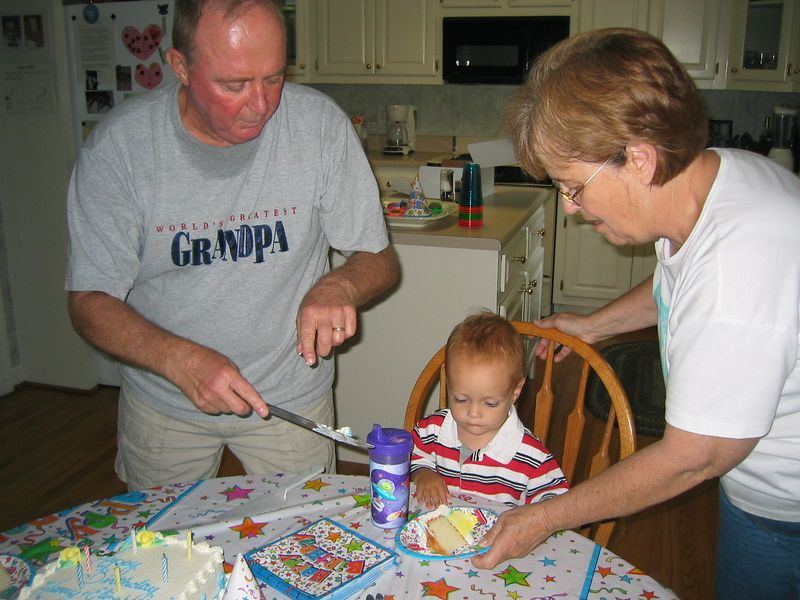 Gram and Papa had a birthday party for Henry and Elizabeth!  We swam in the pool and ate cake!