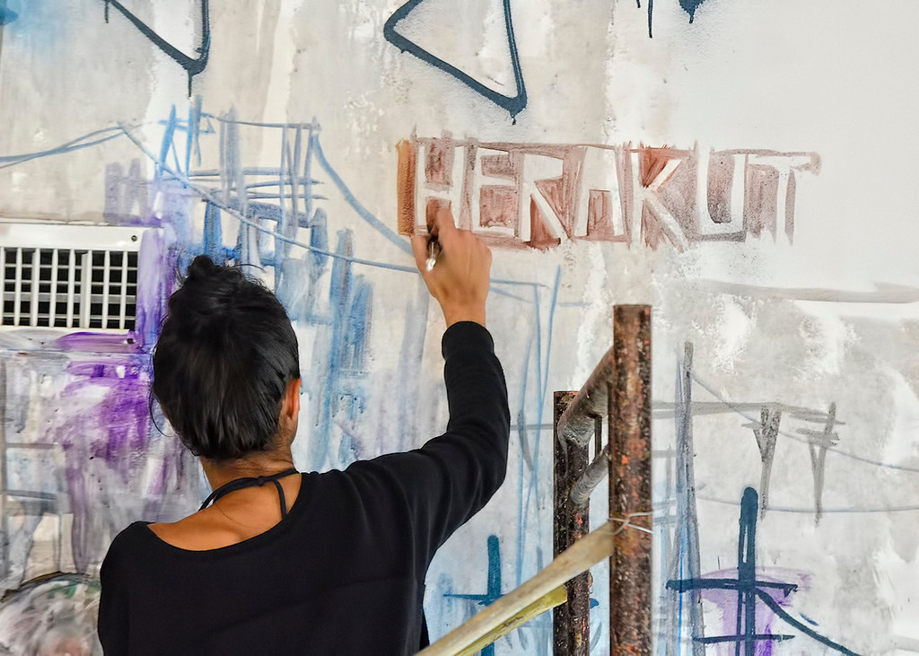 Herakut, foreign street artists holding live painting event at Fully Booked.