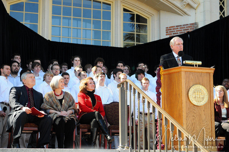 Former FSU President T.K. Wetherell speaks at Florida State University's Heritage Day celebration held on February 17, 2010 outside of the Westcott Building.