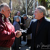 President Eric Barron shakes hands with Don Stone, past President of FSU's Alumni Association, before the Florida State University's Heritage Day celebration held on February 17, 2010 outside of the Westcott Building.