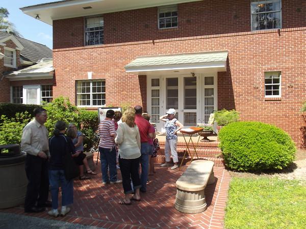 Folks wait for the mansion tour.