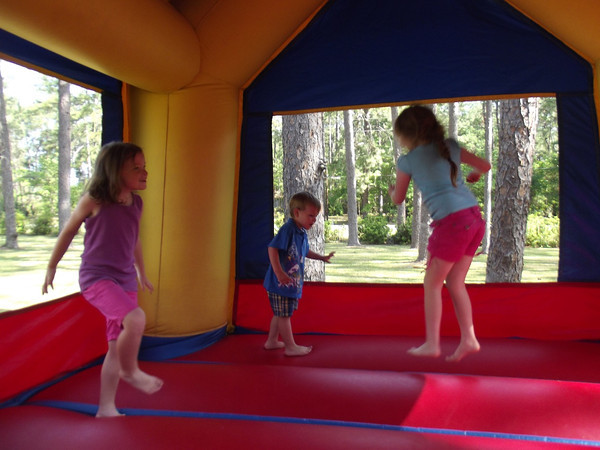 Kids loved the bounce houses at the park.