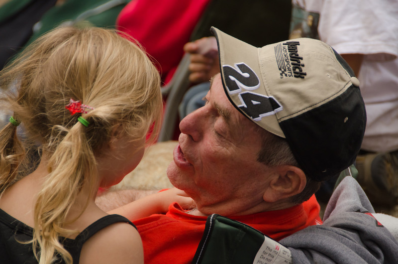 Dad and Kaylee, waiting for her raffle ticket to be called at the Hi Landers' 40th Annual Poker Run