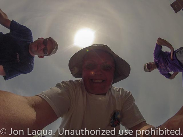 One of the GoPro cameras, looking up at the three team members at the flight.