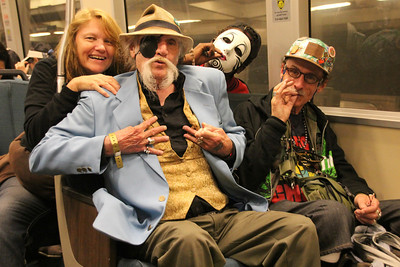 Sharing a BART ride back with cannabis advocates Ima Hemp, left, and Richard Eastman, right.  Both were were instrumental in getting proposition 215 passed - giving our state its first medical marijuana law - which was also a first for the nation.