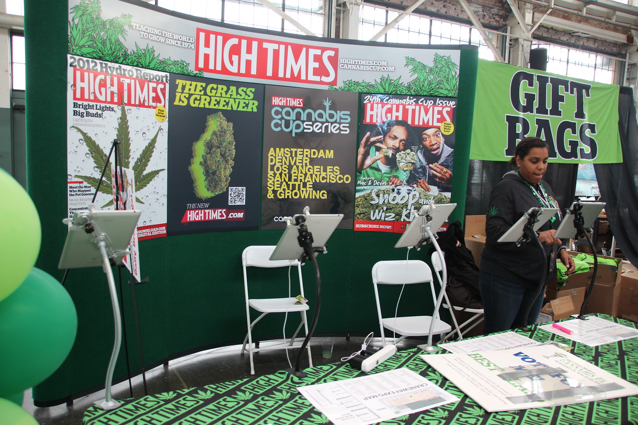 A Cannabis Cup voting booth for the competition - a set of iPads mounted on stands to collect ratings from the judges.