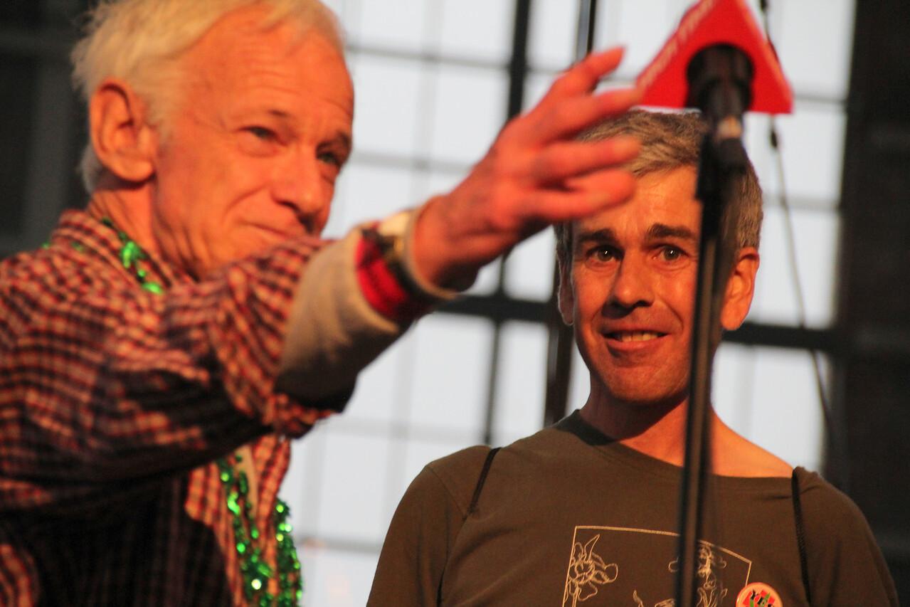 Left, Dennis Peron receives a life time achievement award.   John Entwistle, right.
