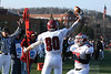 Chadron State College receiver Brandon Harrington is greeted by teammate Joel Schommer after scoring a touchdown at Minnesota-Duluth. The Eagles continued their winning ways in 2008, garnering their third consecutive Rocky Mountain Athletic Conference championship. (photo by Justin Haag)