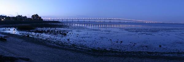 Panoramic view of the San Mateo Bridge.