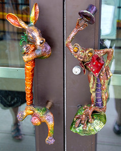 We enter the Museum ... imaginative door pulls greet us.