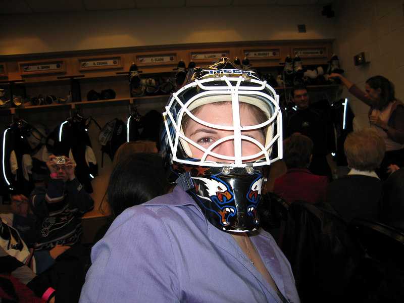 Hockey 'N Heels, C- tries on Johhny's helmet