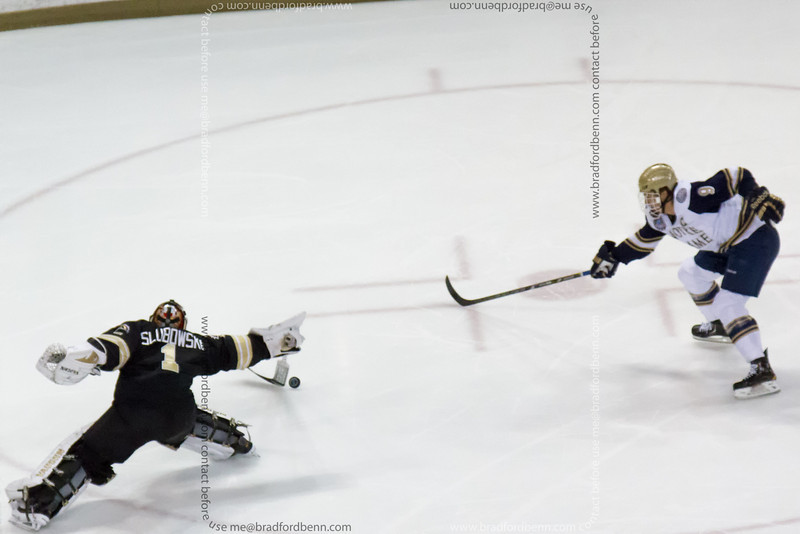 Poke Check by Frank Slubowski during a breakaway by Anders Lee