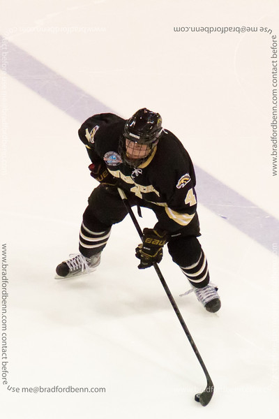 Garrett Haar is ready at the top of the point during the second.