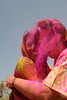 People greet each other and apply colours to each other. Holi the Festival of Colours being celebrated in Khasa Kothi, Jaipur, the Capital city of Rajasthan, India.