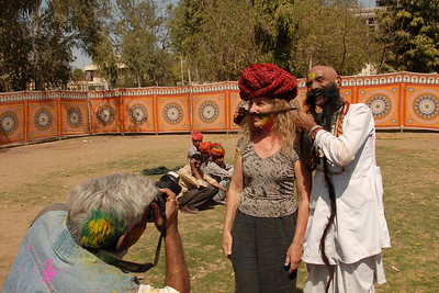Holi the Festival of Colours being celebrated in Jaipur, the Capital city of Rajasthan, India.
