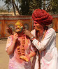Playing with colours. The extra long beared Rajasthani man was a big hit with everyone.<br /> <br /> Holi the Festival of Colours being celebrated in Jaipur, the Capital city of Rajasthan, India.