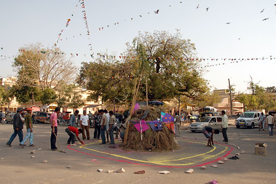 Street preparations for the Holi bonfire in the night. Holi the Festival of Colours being celebrated in Jaipur, the Capital city of Rajasthan, India.
