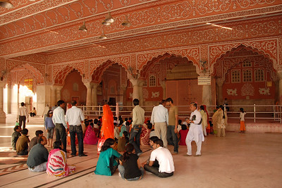 Inside the Shri Radhagovind Mandir in Jaipur where holi is well celebrated. Holi the Festival of Colours being celebrated in Jaipur, the Capital city of Rajasthan, India.