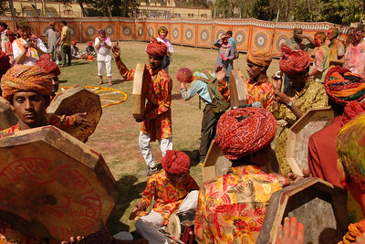 Lots of singing and dancing and making merry. Holi the Festival of Colours being celebrated in Jaipur, the Capital city of Rajasthan, India.