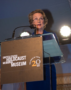 Susan Eisenhower, granddaughter of General Dwight D. Eisenhower, speaks after receiving the Museum's highest honor, the Elie Wiesel Award, on behalf of all World War II veterans