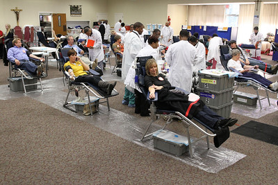 During the Bob Buechner Blood Drive at Holy Cross Church, Atlanta, 164 units of blood were collected. Since one unit of blood can help save up to three lives, the parish community will help save up to 492 lives.