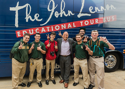 2016_09_28_Flushing_NY_Holy_Cross_High_School, bus, exterior, peace signs, students, Paul Vallone, Congressman, Gabe