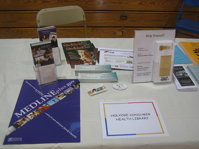 Closeup of handouts on our table at Senior Fest. We also promoted the Holyoke Public Library.