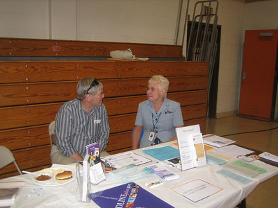 Jim and Judy staffed the health library table while I ate lunch.