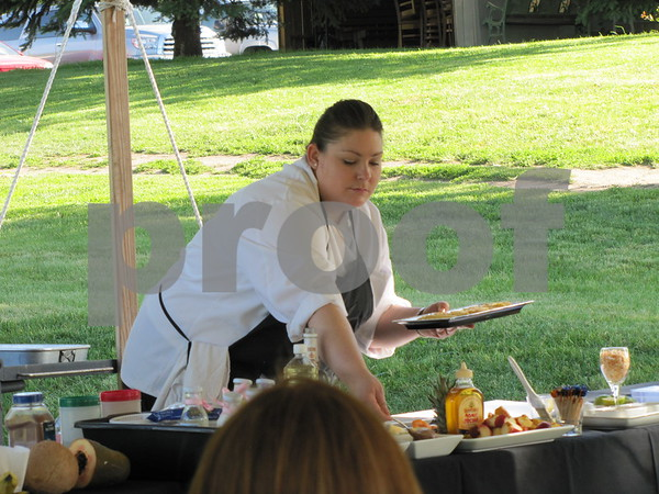 Students and employees of Willow Ridge demonstrated the preparation of various healthy foods and then served them to attendees under the open air tent.