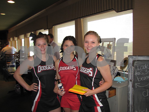 Dodger cheerleaders volunteering at the Ladies Event were Marissa Sebring, Tielyr Clabaugh, and Raelinn Spears.