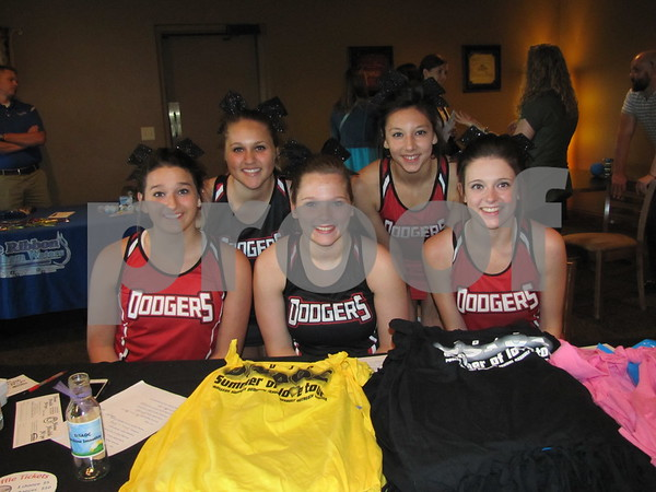 Dodger cheerleaders volunteering for the event are Kylie Kuiper, Mia Casarez, and in front are Aphea Habhab, Marissa Sebring, and Kira Albright.