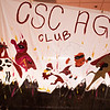 Heroes Homecoming bed sheet posters created by campus groups displayed in the Pit! (Miranda Wieczorek/ Chadron State College)