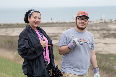 Clarissa Garcia (left) and Marlon Kyle Odvina pose for a photo during the 2017 Islander Spring Clean event.