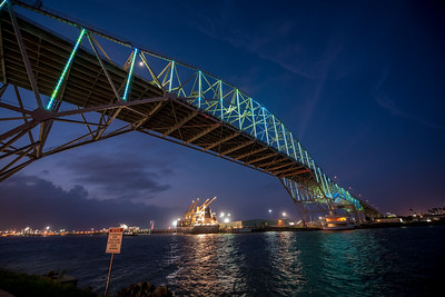 The Harbor Bridge displays Islander blue and green in celebration of Homecoming 2017.