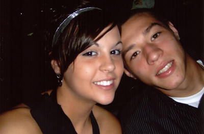A closeup of Erin and Alex at homecoming.
