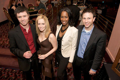 Andy Holzhauser, Aja Roberto, Carliss Charles and Tom Hodges at The Cincinnati Hilton Netherland Plaza for the Hometown Hollywood Oscar Party