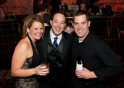 Amy and Chris Tanaka and Dan Hamilton at The Cincinnati Hilton Netherland Plaza for the Hometown Hollywood Oscar party