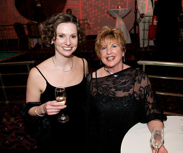 Kelly Clements of Over the Rhine and Sharon Switzer of Downtown at The Cincinnati Hilton Netherland Plaza for the Hometown Hollywood Oscar party